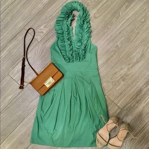 BCBGMaxazria green ruffle halter dress size 0